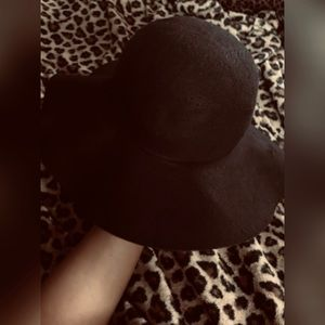 SUMMERTIME! Black Suede type Wide Rim floppy hat